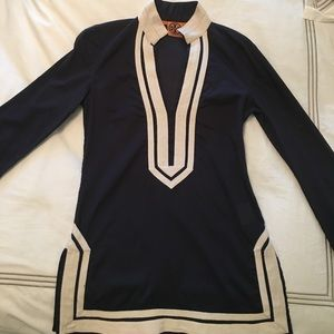 Tory Burch navy white tunic size 0